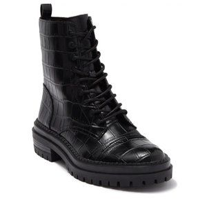 14th & Union Olivia Croc Embossed Combat Boots